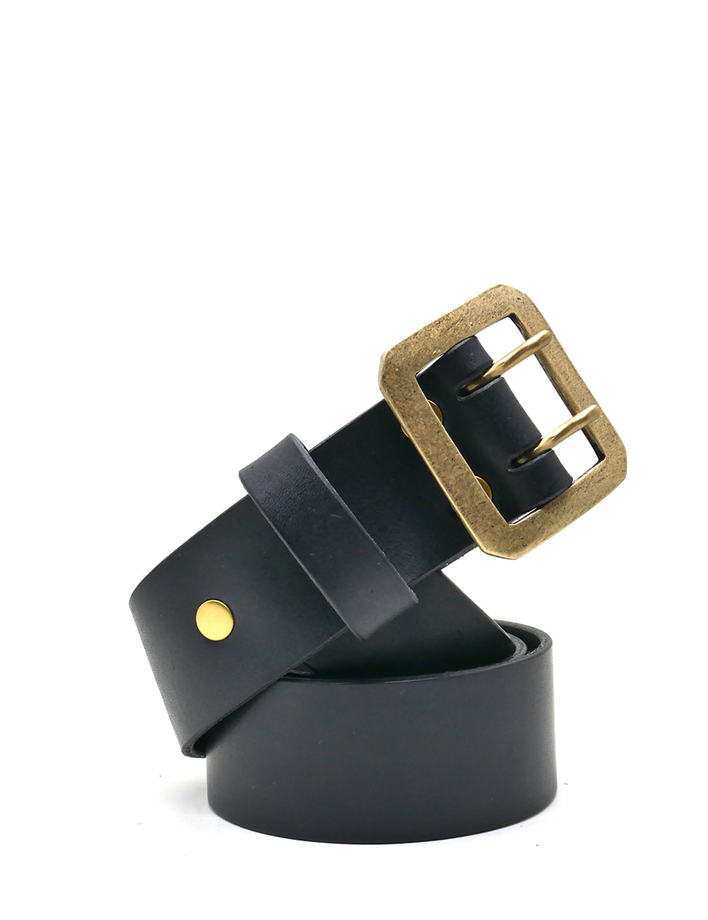 [LEATHER SMITH]  composury double belt(black&gold)