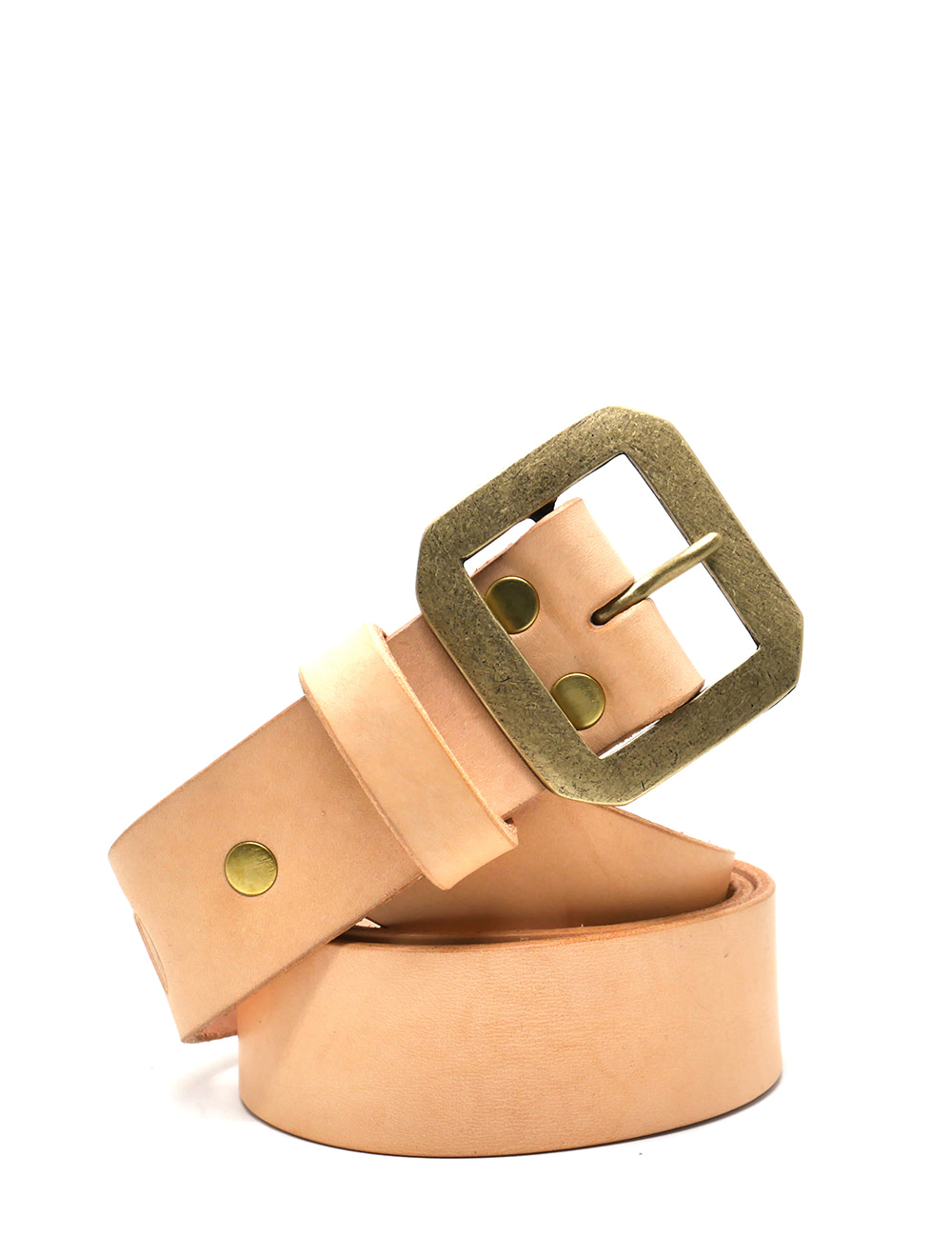 [LEATHER SMITH]  compulsory single belt (beige&gold)