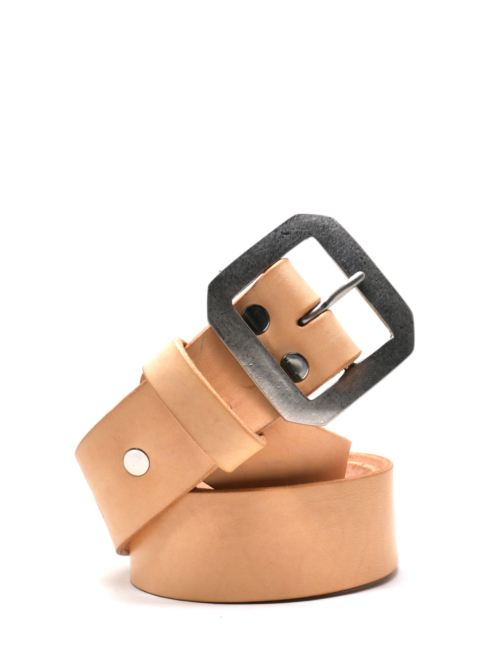 [LEATHER SMITH]  compulsory single belt(beige&silver)